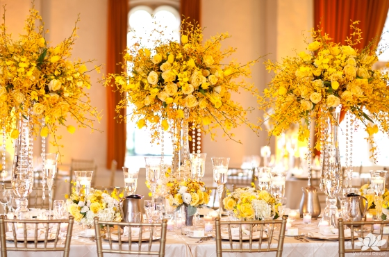 Yellow flowers in Ballroom